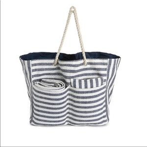DSW Striped Beach Tote, Blanket & Pillow